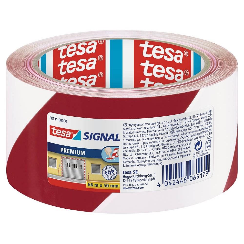 tesa Markierungsklebeband 60760, 33m x 50mm, rot/weiß