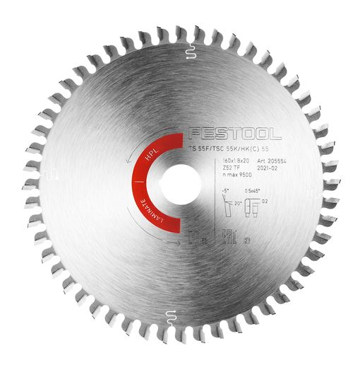 Festool Kreissägeblatt LAMINATE/HPL HW 160x1,8x20 TF52 205554